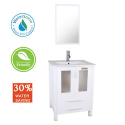 24and039and039 White Bathroom Vanity Set Mirror Cabinet W/ Drop In Rectangle Sink Combo