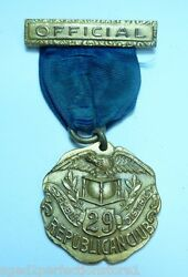 Old Official Republican Club Gold Gilt Medallion 29 Assembly Dist Dieges Clust