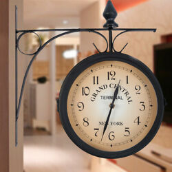 Retro Antique Double Sided Wall Clock Hanging Outdoor Station Quartz Battery USA