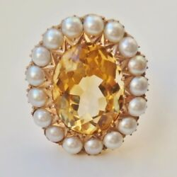 Antique Victorian 9ct Gold Scottish Cairngorm Citrine And Pearl Cluster Ring C1900