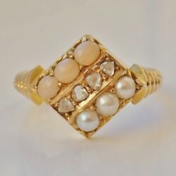Fine Antique Victorian 15ct Gold Coral Diamond And Pearl Ring C1877 Uk Size 'l'