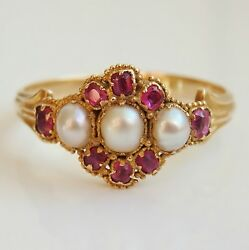 Stunning Antique Victorian 15ct Gold Ruby And Pearl Cluster Ring C1880 Uk Size O