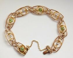 Stunning Antique Victorian 9ct Gold Peridot And Pearl Fancy Link Bracelet C1895