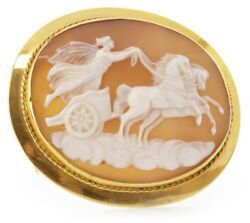 Stunning Antique Victorian Large 9ct Gold Eos Godess Of Dawn Cameo Brooch C1885