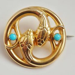Stunning Antique Victorian 15ct Gold Turquoise Set Double Snake Brooch C1885