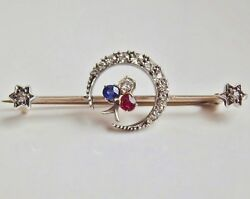 Stunning Antique Victorian Gold Diamond Ruby And Sapphire Crescent Brooch C1895