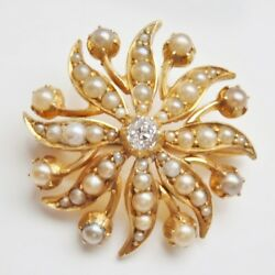 Antique Victorian 15ct Gold Diamond 0.10ct And Pearl Flower Pendant Brooch C1885