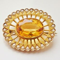 Antique Victorian 9ct Gold Scottish Cairngorm Citrine And Seed Pearl Brooch C1900