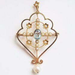 Stunning Antique Edwardian 15ct Gold Aquamarine And Pearl Pendant Brooch C1905