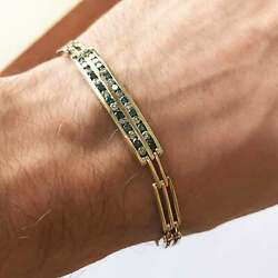 2 Ctw Natural Blue And White Diamond Solid 14k Yellow Gold Link Bracelet For Men
