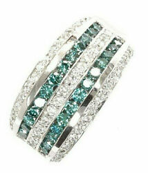 1.8 Ctw Natural Blue And White Diamond Solid 14k White Gold Wide Band Ring 11 Mm
