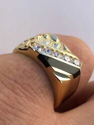 Menand039s 14k Gold Over Solid 925 Silver Nugget Black Onyx Ring W. Man Made Diamonds