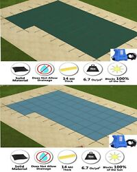 Gli Valuex Solid Swimming Pool Winter Safety Cover W/ Left Flush Step And Pump