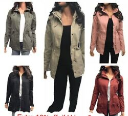 Women's Military Anorak Safari Jacket With Pockets And Hooded Jacket S-3xl