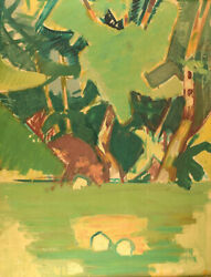 Hans Andoslashllgaard B. 1911 D. 1969. Abstract Modernist Landscape. 1950 / 60and039s.