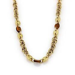 18k Gold Tiger's Eye Cable Ring & Button Style Chain Link Necklace 26