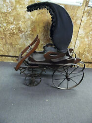 Antique Old Salesman Sample Miniature Carriage Buggy Horse Drawn Doll Baby Wagon
