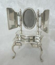 Miniature White Metal Dressing Table With Ornate Mirrors And Drawers 835 Silver