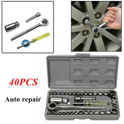 40x Car Wrench Socket Set Sleeve Combination Screw Removal Installation Tool Set