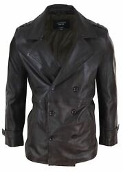 Mens Real Leather 3/4 Double Breasted Pea Coat Sherlock Brown Sailor Classic