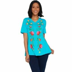 Studio by Denim & Co. Size 1X Aqua Blue Fit & Flare Embroidered Tunic