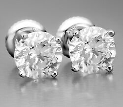 1.84 Ct Certified Fvs2 Round Cut Natural Diamond Stud Earrings 14k White Gold