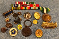 Lot Military Ribbons Pins Desert Storm Red Cross Eagle Officers Euro Usa Nl Team