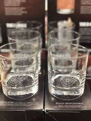 Absolut Vodka Detroit Red Wings Etched Logo Rocks Bar Glass Set Of 6 Glass New