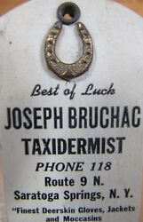 Old J Bruchac Taxidermist Best Of Luck Horseshoe Ad Sign Thermometer Saratoga Ny