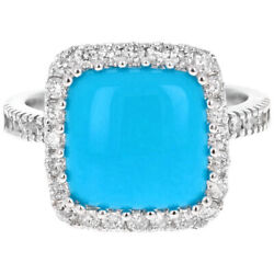 4.00 Carats Natural Turquoise And Diamond 14k Solid White Gold Ring