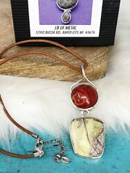 Lb Metal Coral Serpentine Sterling Silver Chunky Pendant Barse Leather Necklace