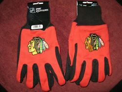 Two 2 Pair Of Chicago Blackhawks, Utility Gloves From Forever Collectable