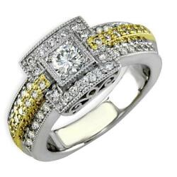 3 Row Vintage-look Diamond Ring With Diamond Center In 18k Two-tone