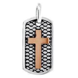 36mm Hardcore Metal Snake Skin Cross Pendant Dog Tag In 14k White And Pink Gold
