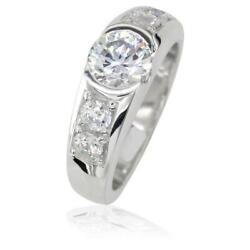 Alina Ladies Band in Sterling Silver with Cubic Zirconias