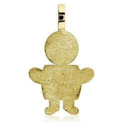 Extra Large Sterling Silver Sziro Boy Charm With Texture For Mom Grandma In 18k