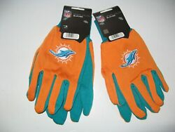 Two Pair Of Miami Dolphins Sport Utility Gloves From Forever Collectables