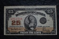 1923 , 25 Cents,  Authorized Very Rare And  Cut-off,   Bc-24a, Hyndman-