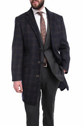 The Suit Depot Menand039s Wool Cashmere Single Breasted Blue Plaid 3/4 Length Topcoat