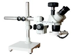 10-20-30-60x Stereo Microscope Universal Boom Stand 100mm Wd Led And 10mp Camera