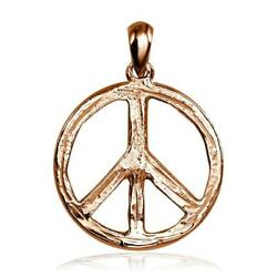 Carved Rough Design Peace Sign Charm In 18k Pink Rose Gold