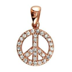 Small Diamond Peace Sign Charm 0.35ct Half Inch In 14k Pink Rose Gold