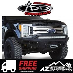 Add Honeybadger Front Winch Bumper Black For 17-19 Ford Super Duty F250 F350