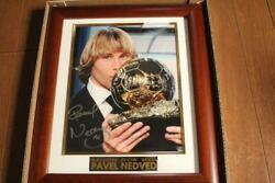Rare Pavel Nedved Ballon D'or Photo Frame W/autograph From Japan F/s