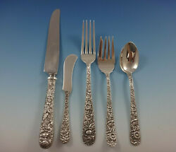 Repousse By Kirk Sterling Silver Flatware Set For 8 Service 43 Pieces