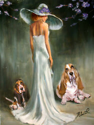 Basset Hound with Lady dog art original oil painting on canvas by Roberta C