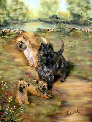 Cairn Terrier group in field  original oil painting on canvas by Roberta C