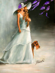 Welsh Terrier with lady dog art original oil painting on canvas by Roberta C