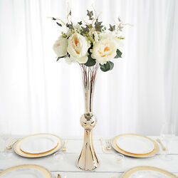 2 Pcs 24-inch Tall Gold Ombre Chrome Glass Trumpet Centerpiece Wedding Vases