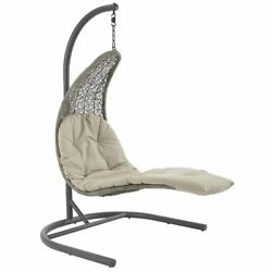 Modway Landscape Patio Swing Chair In Light Gray And Beige
